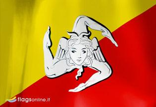 Flag Sicily Trinacria
