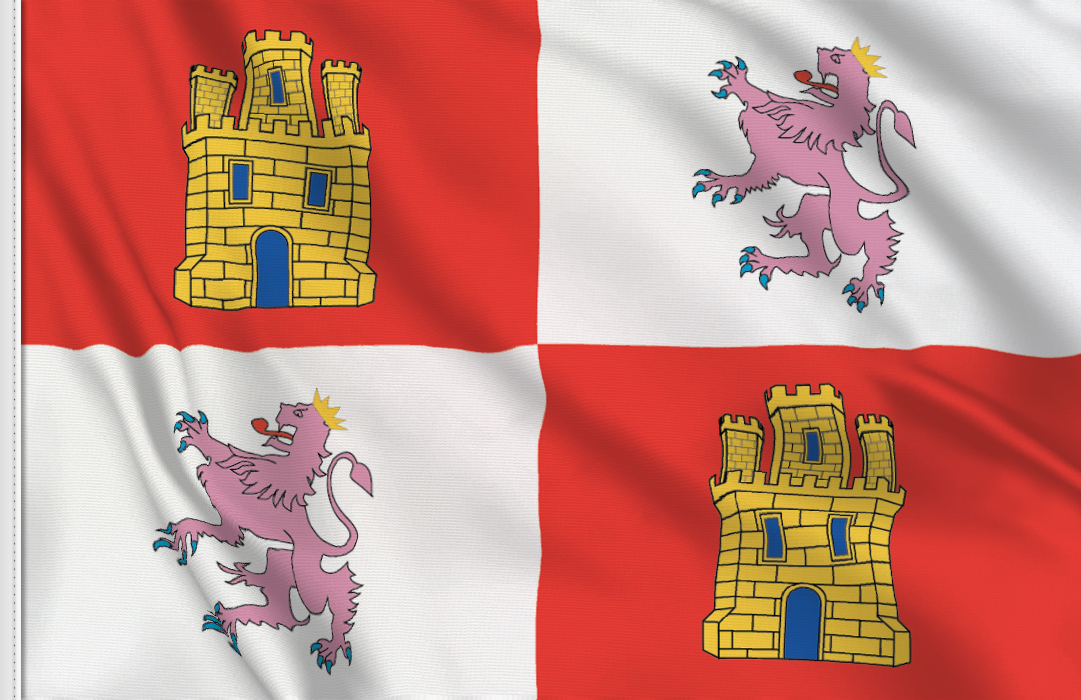 Kastilien und Leon Aufkleber, Autoaufkleber Flaggen von Kastilien und León