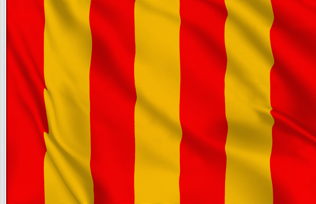 Yellow with red stripes flag