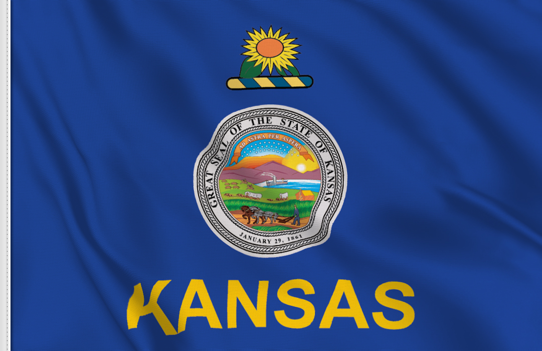 Flag sticker of Kansas