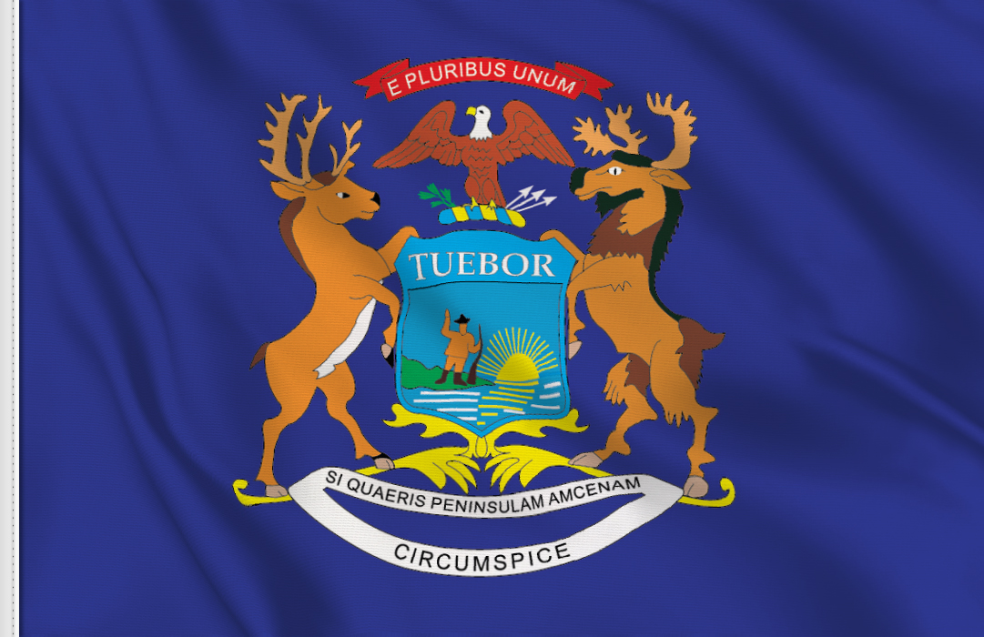 Flag sticker of Michigan