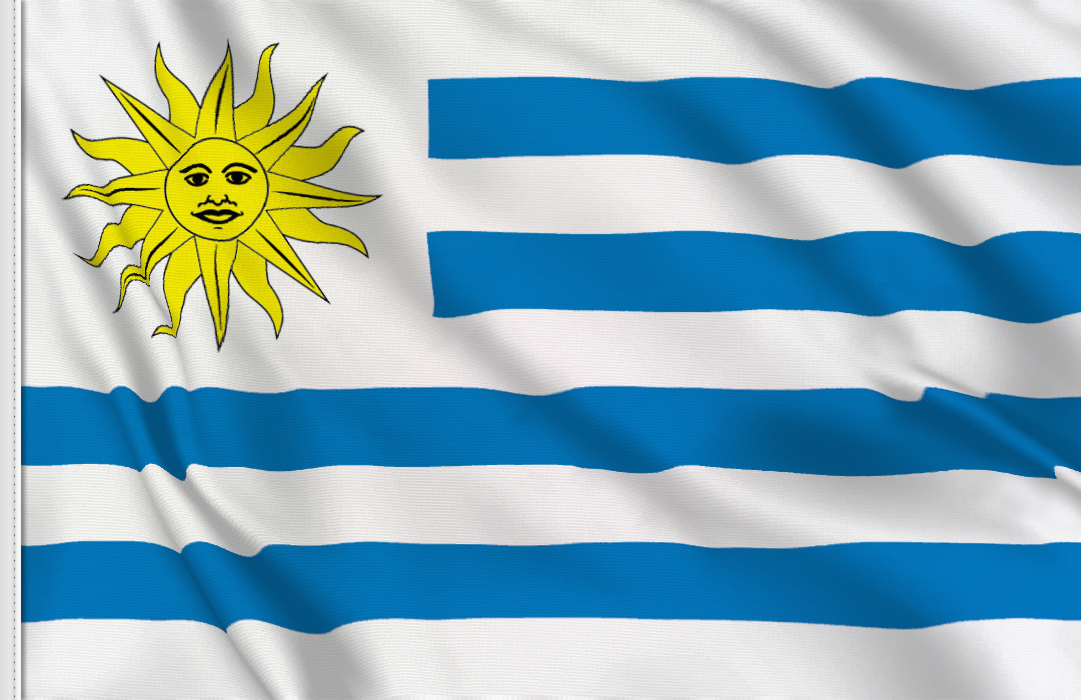 flag sticker of Uruguay