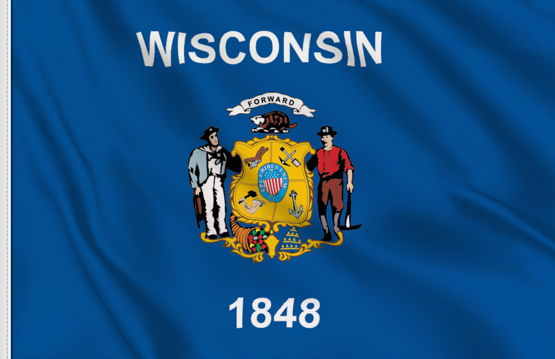 bandera adhesiva de Wisconsin