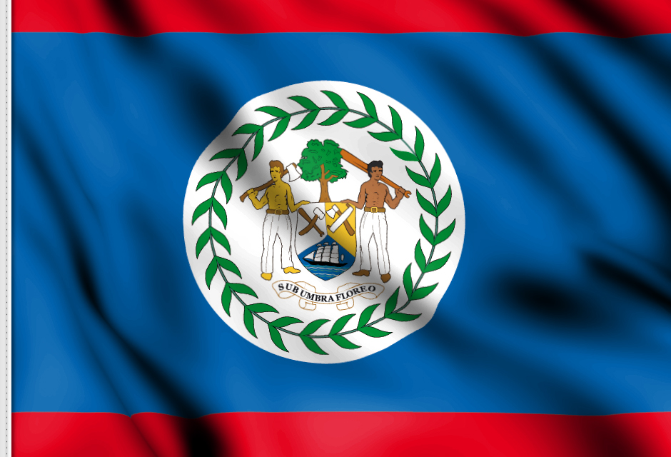 flag sticker of Belize