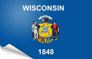 Adhesive flag Wisconsin