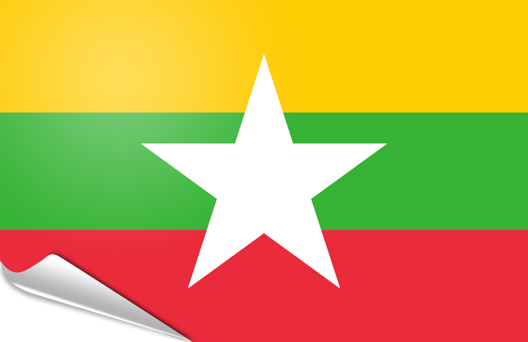 Flag sticker of Myanmar