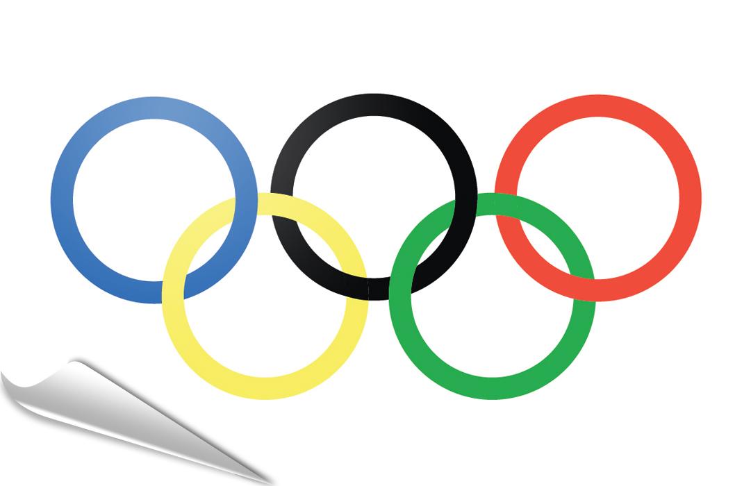 Olympique drapeau adhésif, le adhésif Olympique.
