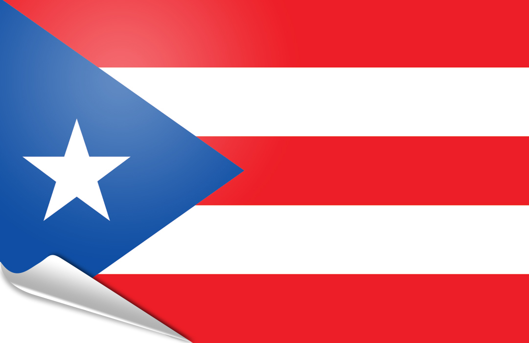 Flag sticker of Puerto Rico