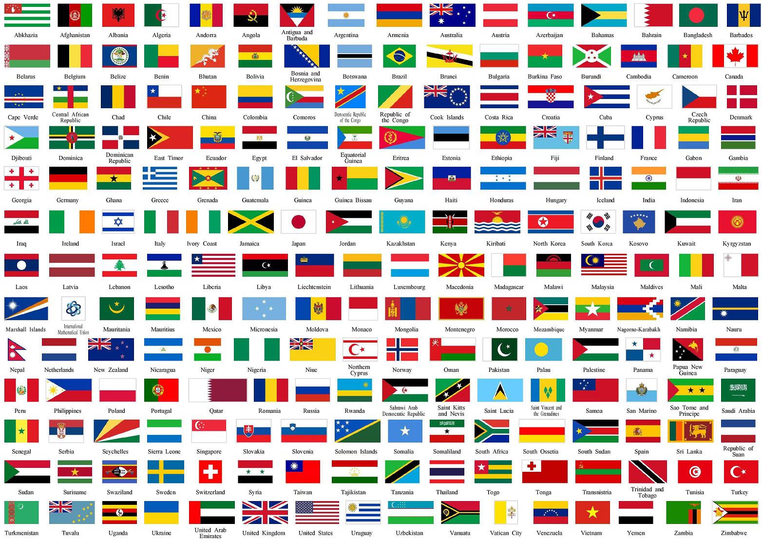 banderas de los paises en el mundo para imprimir